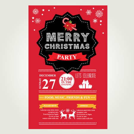 Invitation Merry Christmas. Vector illustration. Vector