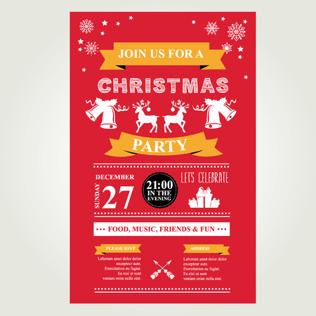 party invite: Invitation Merry Christmas. Vector illustration.