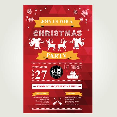 Invitation Merry Christmas. Vector illustration. Vector Illustration