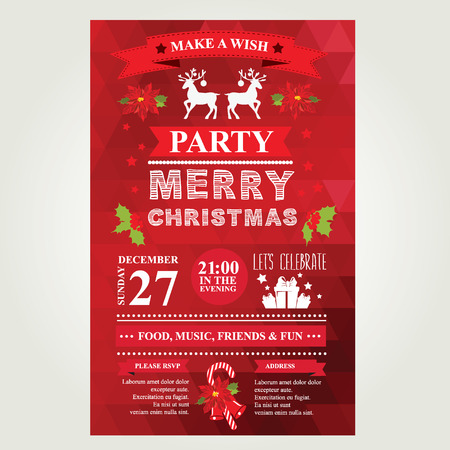 holiday party: Invitation Merry Christmas. Vector illustration.