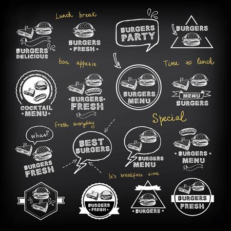 Burgers set of icons menu, vector illustration.