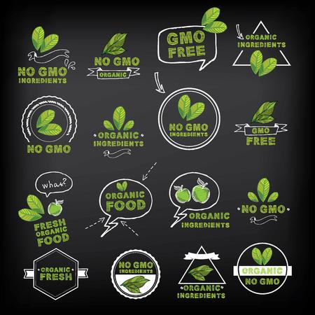 logo de comida: No OGM, icono del vector. Vectores