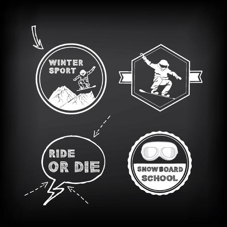 Snowboarding, winter sport  icon set. Vector