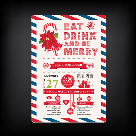 brochure template: Christmas restaurant and party menu, invitation.