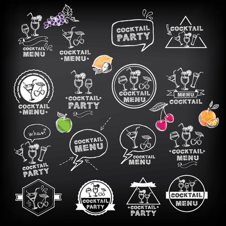 Cocktail party menu, vector illustration.