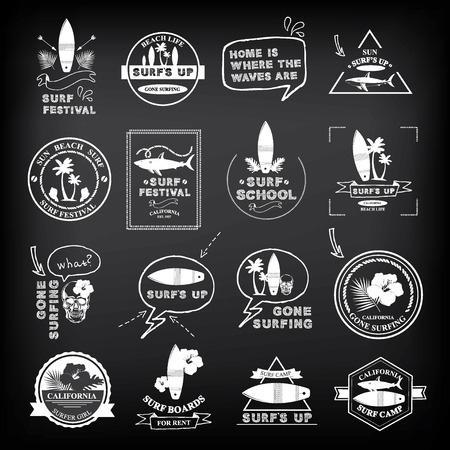 surfing: Surfing summer icons,vector labels collection. Illustration