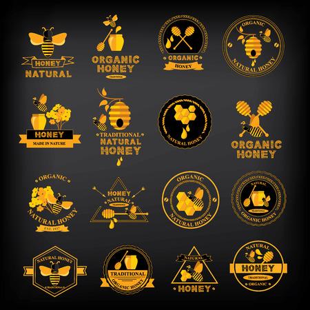 Stel Honing badges en labels. Abstract bijenontwerp. Stock Illustratie