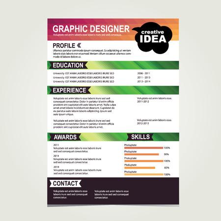 work experience: Resume template. Cv creative background. Vector illustration. Illustration