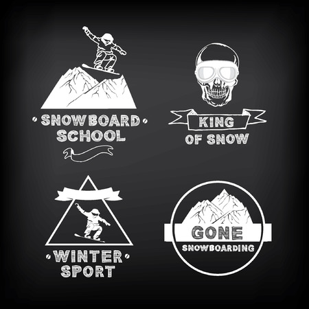 Snowboarding, winter sport  icon set. Vector