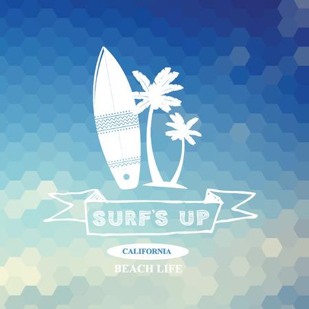 Surfing summer icon, vector label. Vector