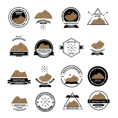 scouts: Set of expedition badges illustration.