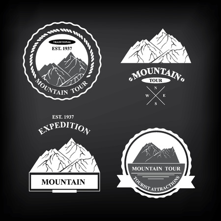 Set of expedition badges illustration. Vector