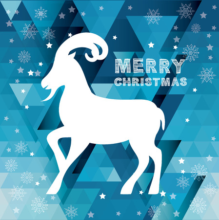 Merry christmas Poster Goat illustration. Vector