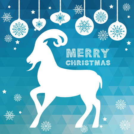 Merry Christmas Poster Goat illustration. Vector