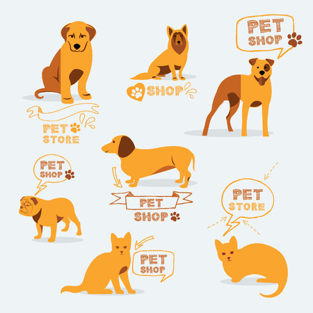 Set dog ans cats icon and labels, pet shop. Vector