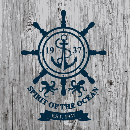 T-shirt design. Nautical marine, badge design.