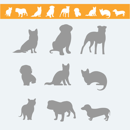 Set dog ans cats icon and labels, flat. Vector