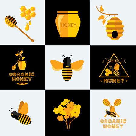 miel de abeja: Fije los iconos y etiquetas de miel. Vectores