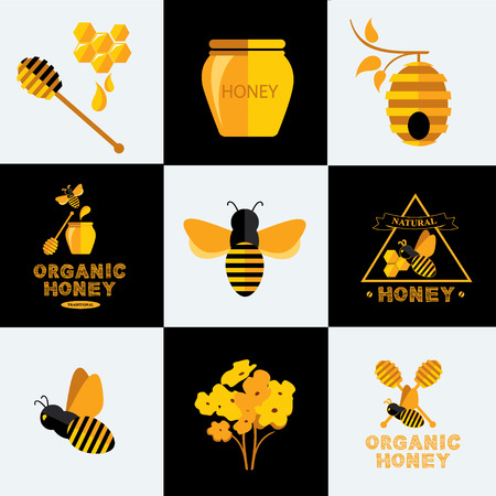 honey pot: Set Honey icons and labels. Illustration