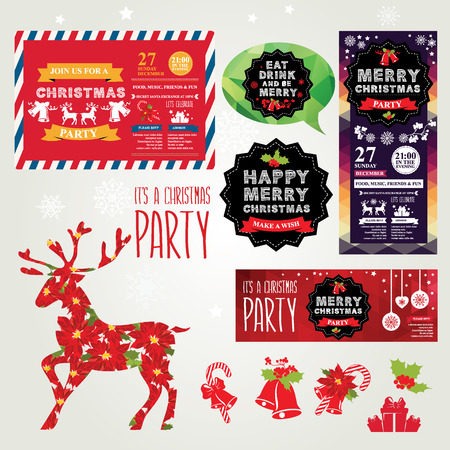 party invite: Invitations Merry Christmas. Illustration