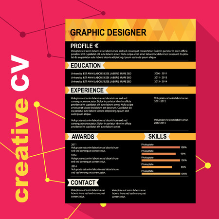 Resume Template. Cv Creative Background. Vector  Resume Background Image