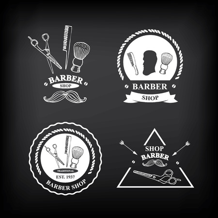 barber pole: Barber shop labels,vector icons. Illustration