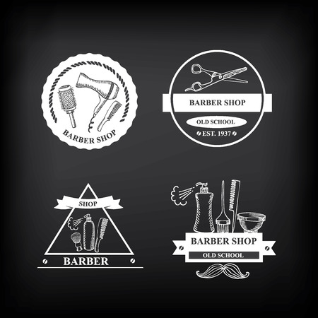 barber shop: Kapperszaak labels, vector iconen.