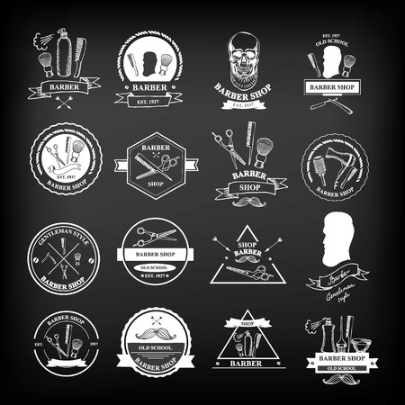 straight razor: Barber shop labels,vector icons. Illustration