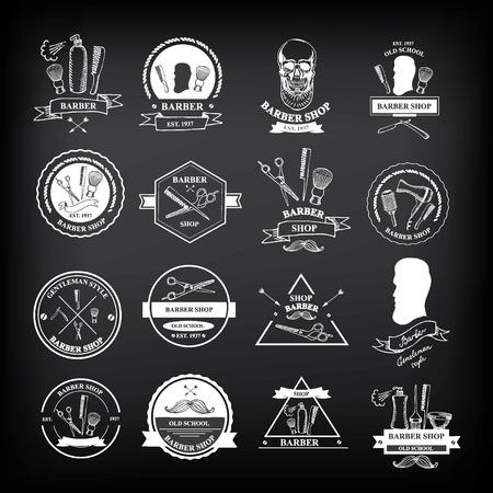 barbero: Etiquetas barbería, iconos vectoriales. Vectores