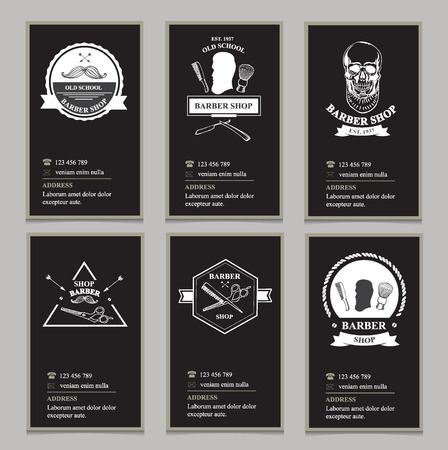 Visiting card design barbershop. Vector