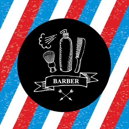 straight man: Barber shop label,vector icon. Illustration