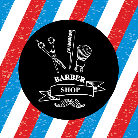 straight razor: Barber shop label,vector icon. Illustration
