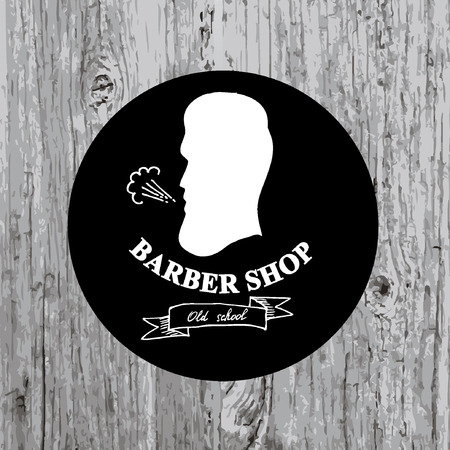 man haircut: Barber shop label,vector icon. Illustration