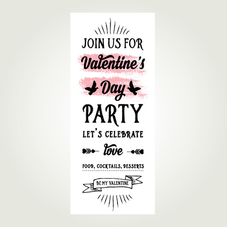 Invitation Valentines Day. Typography. Love poster. Vector