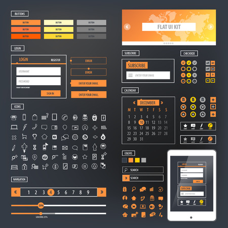 application form: Ui kit responsive web design. Icons, template mockup.