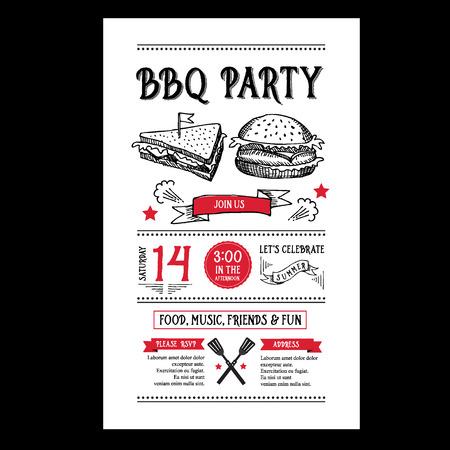 Barbecue invito a una festa. BBQ brochure menu design.