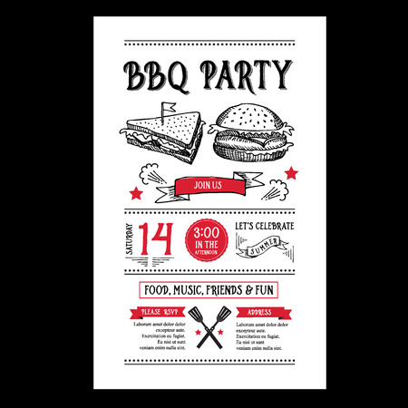 flyer party: Barbecue party invitation. BBQ brochure menu design.