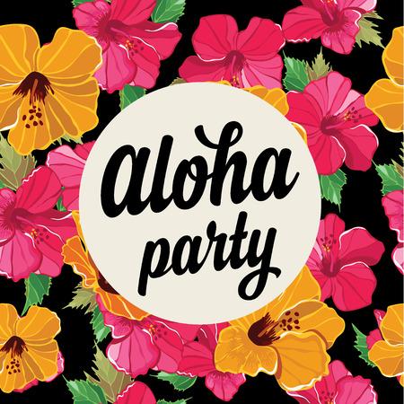 aloha: Summer poster.Typography vector.