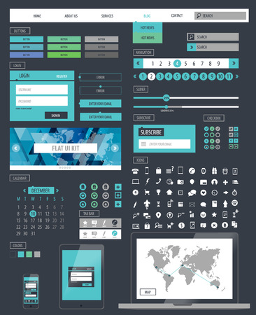 kit design: Ui kit responsive web design. Icons, template mockup.