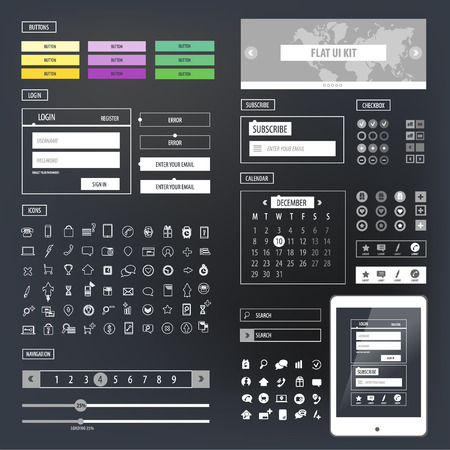 Ui kit responsive web design. Icons, template mockup.