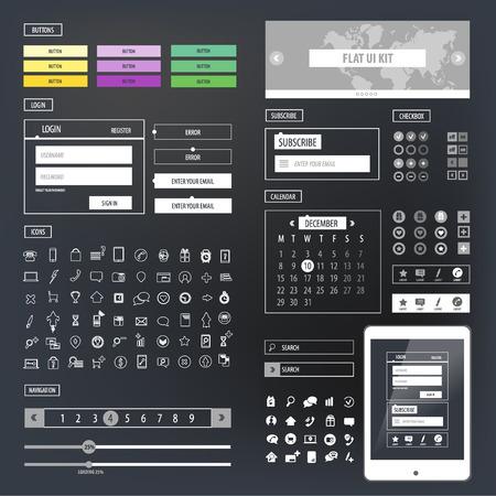 kit design: Ui kit responsive web design. Icons, template mockup.