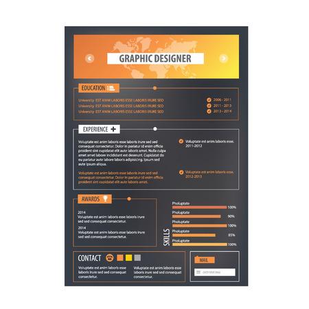 curriculum vitae: Resume template. Cv creative background. Vector illustration. Illustration