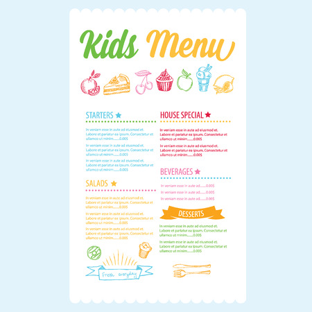 healthy meal: Kids menu. Vector template.