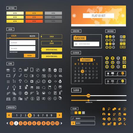 kit: Ui kit responsive web design. Icons, template mockup.