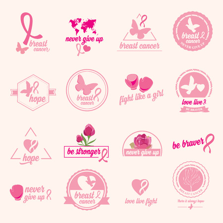 breast cancer awareness: Breast cancer set of stickers. Pink ribbon, icon design.