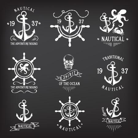 ancre marine: T-shirt design. Marine nautique, dessin de l'insigne. Illustration