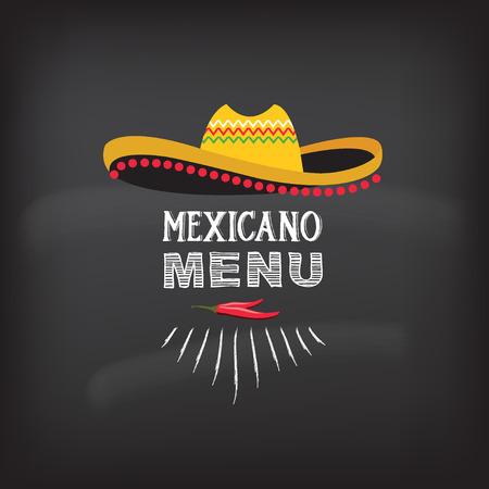 sombrero de charro: Men� ilustraci�n design.Vector mexicano.