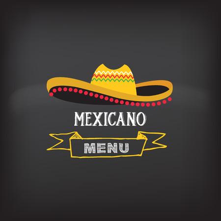 mexican hat: Menu mexican design.Vector illustration.