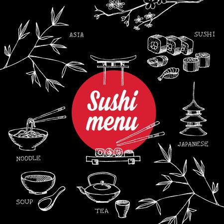 sushi roll: Restaurant cafe menu, template design.Vector illustration. Illustration