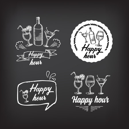 happy hour drink: Happy hour party invitation. Cocktail chalkboard banner.